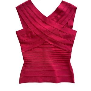 Herve leger red bandage top size XS